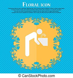 drinking fountain Floral flat design on a blue abstract...
