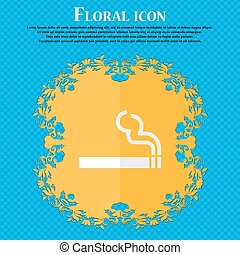 cigarette smoke. Floral flat design on a blue abstract background with place for your text. Vector