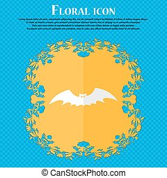 bat. Floral flat design on a blue abstract background with place for your text. Vector