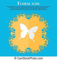 butterfly. Floral flat design on a blue abstract background with place for your text. Vector