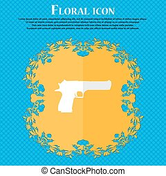 gun. Floral flat design on a blue abstract background with place for your text. Vector