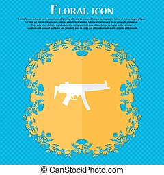 machine gun. Floral flat design on a blue abstract...