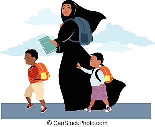 Going to school - Muslim woman, wearing hijab, bringing her...