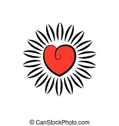 vector icon of heart or love as blooming flower