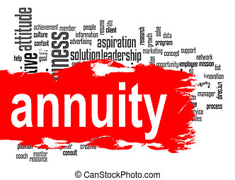 Annuity word cloud with red banner image with hi-res...