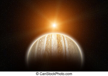 Rising Sun on Planet Jupiter