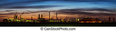 Panorama of Chemical plant at sunset - Panorama of Oil...