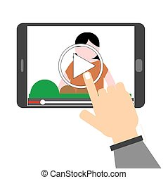 human hands pointing to video on th - Illustration of human...