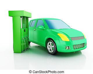 3d electric car at charging station. - 3d renderer image....