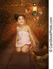 Little girl and butterflies - Little girl with a surprised...