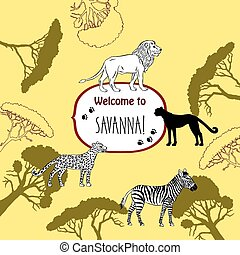 Background with savanna animal
