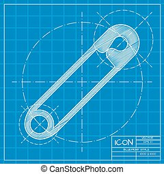 Vector tailor sing - Vector blueprint tailor pin icon on...