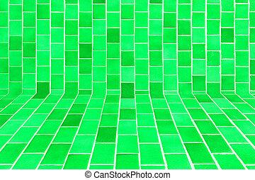 Tegelpanna, grön, mosaik