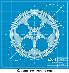 Bobbin icon - Vector blueprint retro bobbin icon on engineer...