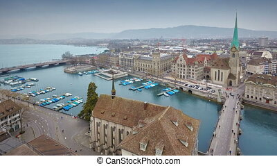 timelapse of Zurich skyline and the Limmat river - aerial...
