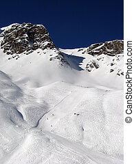 Skiing slope - Slope on the skiing resort Scuol. Switzerland