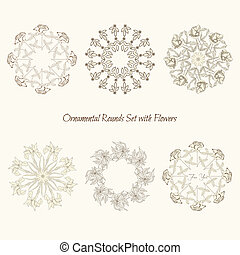 Set ornamental round with flowers - Set ornamental rounds...