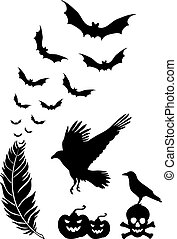 Halloween design elements, vector - Raven feather with...