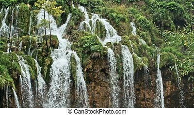 Waterfall and Lake in Plitvice, National Park. Croatia. -...