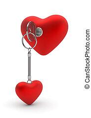 Key opening heart lock