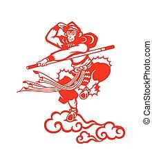 Chinese Monkey king Sun Wukong paper-cut