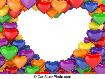 Heart balloons background