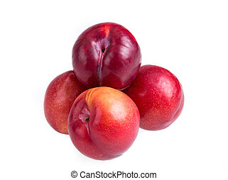 Nectarines isolated on white background
