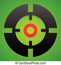 Targetmark, crosshair, reticle on green gridded background
