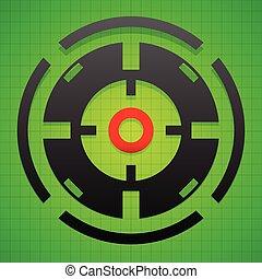Targetmark, crosshair, reticle on green gridded background