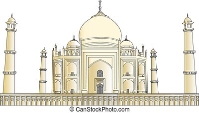 Taj Mahal vector outlines in very high detail colored