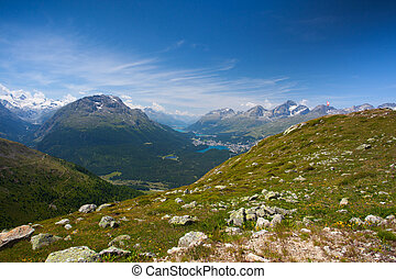 Panorama of the Upper Engadine from Muottas Muragl,...