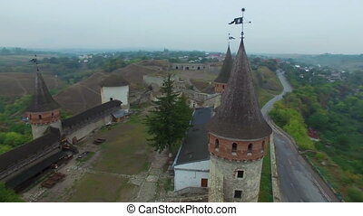 Aerial: Old castle in Kamenetz-Podolskiy, Ukraine
