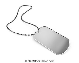 Blank metal dog tag isolated on a white background