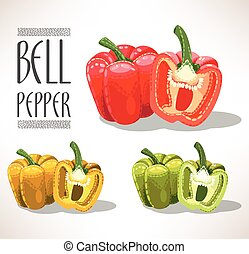 Red, yellow and green bell peppers - Illustration of red,...