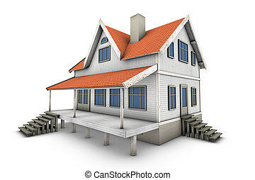3d Home - New private family house 3d illustration, isolated...