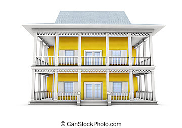 3d Home - New family house 3d illustration, isolated on...