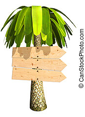 3d board - Wooden signboard on a palm tree. Isolated on...