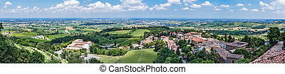 General view of the medieval Italian city - Panoramic view...