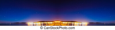 isthmus under a starry sky - night view of a isthmus under a...