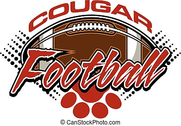 cougar football - cougar team design with ball and paw print