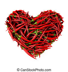 Heart 3d - Heart made of Chili Pepper. Isolated on a white....
