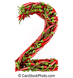 3d Number - Number 2 made from red pepper Isolated on a...