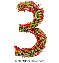 3d Number - Number 3 made from red pepper Isolated on a...