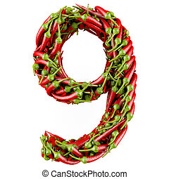 3d Number - Number 9 made from red pepper. Isolated on a...