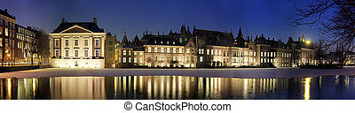 Binnenhof at night - Panoramic image of The Binnenhof and...
