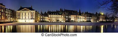 Binnenhof at night - Panoramic image of The Binnenhof and...