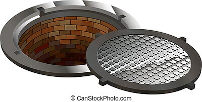 sewer, manhole, tunnel, pit, hole - open hatch with four...