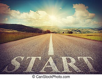 Start road - Road that says start in the asphalt