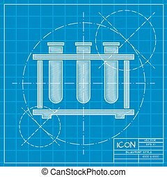 test-tube - Vector blueprint test-tube icon on engineer or...
