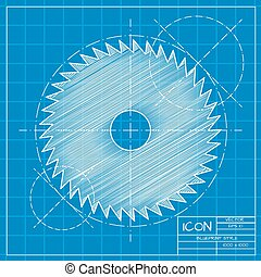 Circular Saw - Vector blueprint circular saw icon on...